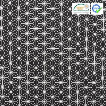 Coton noir grand motif asanoha blanc