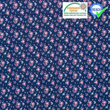 coupon - Coupon 27cm - Coton bleu marine motif fleur rose et lune flomi Oeko-tex