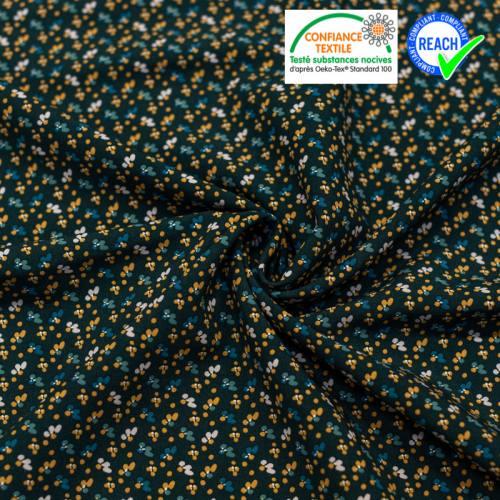 coupon - Coupon 65cm - Viscose bleu nuit imprimée petite fleur camel fimoa Oeko-tex
