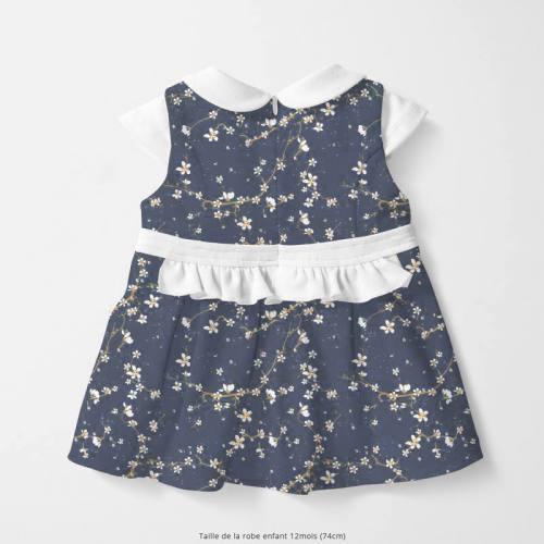 coupon - Coupon 77cm - Coton bleu jean motif fleur de cerisier