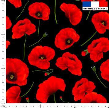 Tissu imperméable noir motif coquelicot