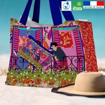 Kit sac de plage imperméable motif couple au balcon - Queen size - Création Julia Amoros