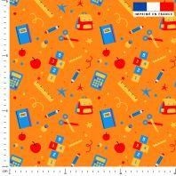 Sac et fournitures d'école - Fond orange