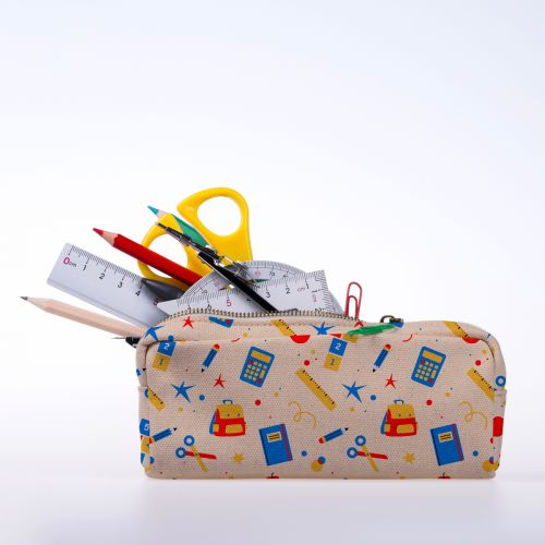 Sac et fournitures d'école - Fond beige