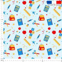 Sac et fournitures d'école - Fond bleu clair