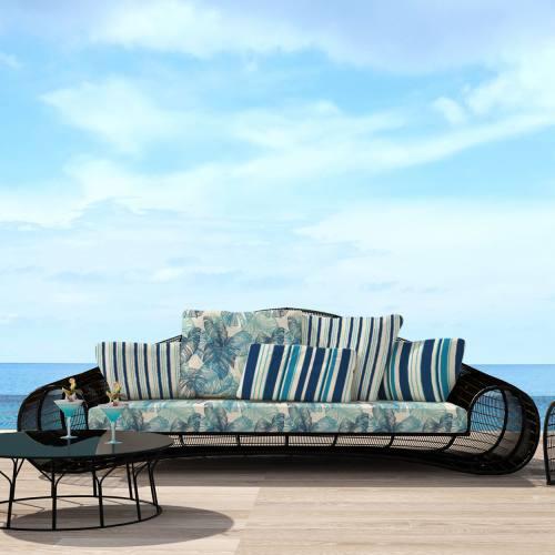 coupon - Coupon 90cm - Tissu imperméable écru motif rayure fine bleue - Tissu imperméable 300gr/m² - 150 cm