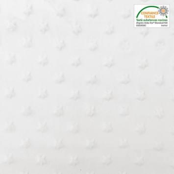 Minky uni blanc relief étoiles