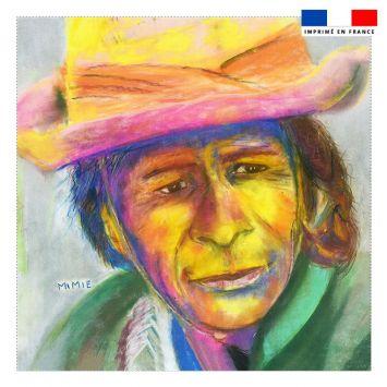 Coupon 45x45 cm motif portrait d'homme - Création Mimie
