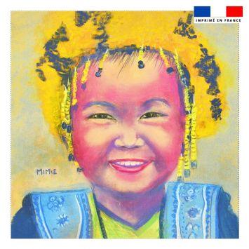 Coupon 45x45 cm motif petite fille aux cheveux jaunes - Création Mimie