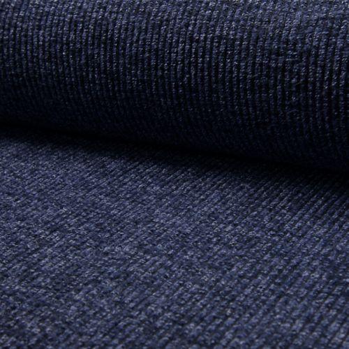 Tissu lainage côtelé tout doux bleu jean