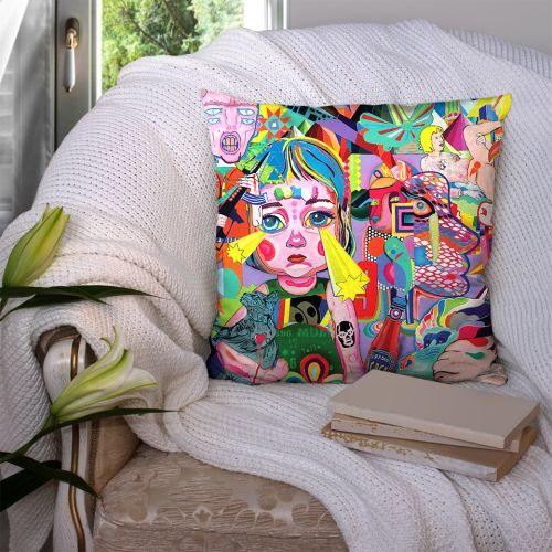 Coupon 45x45 cm motif poupette recto - Création Khosravi