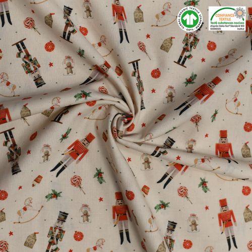 Coton bio naturel motif casse-noisette Oeko-tex