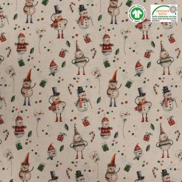 Coton bio naturel motif bonhomme de neige Oeko-tex