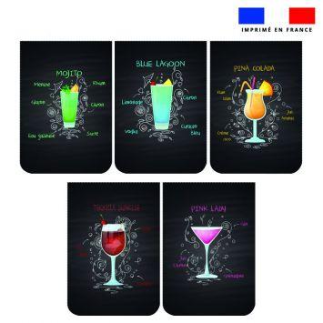 Lot de 5 essuie-mains en éponge motif cocktail