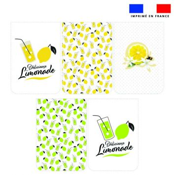 Lot de 5 essuie-mains en éponge motif citron