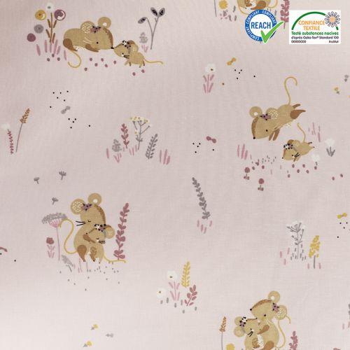 Coton rose motif souris minissou Oeko-tex