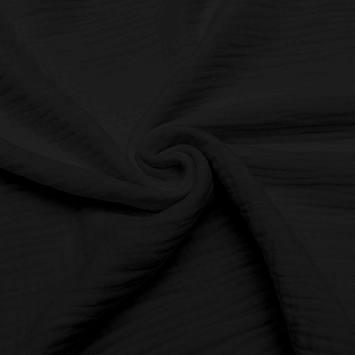 coupon - Coupon 87cm - Triple gaze de coton noire