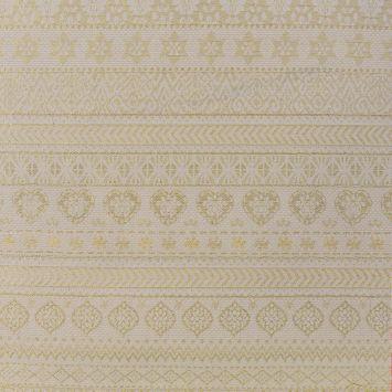 Jacquard crème motif hiver scandinave doré