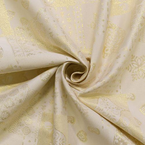 Jacquard crème motif coeur doré Noel