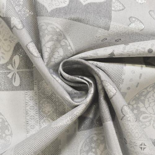 Jacquard blanc motif coeur argenté Noel
