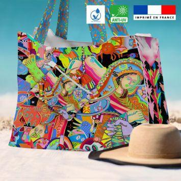 Kit sac de plage imperméable motif paradise - Queen size - Création Khosravi