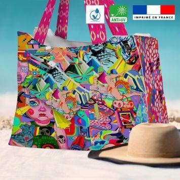 Kit sac de plage imperméable motif windsor - Queen size - Création Khosravi