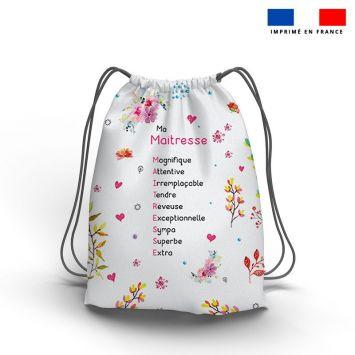 Kit sac à dos coulissant motif maitresse