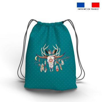 Kit sac à dos coulissant motif boho indien bleu