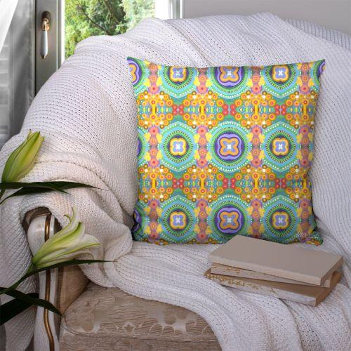 Coupon 45x45 cm motif abstrait jaune et vert - Création Lita Blanc