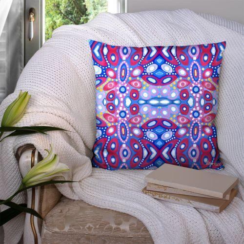 Coupon 45x45 cm motif abstrait miroir bleu - Création Lita Blanc