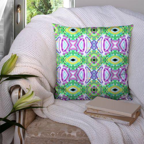 Coupon 45x45 cm motif miroir vert et violet - Création Lita Blanc