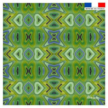 Coupon 45x45 cm motif miroir vert prairie - Création Lita Blanc