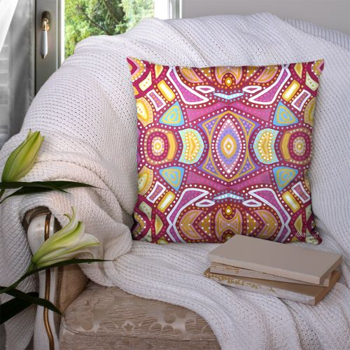 Coupon 45x45 cm motif miroir ethnique rose - Création Lita Blanc
