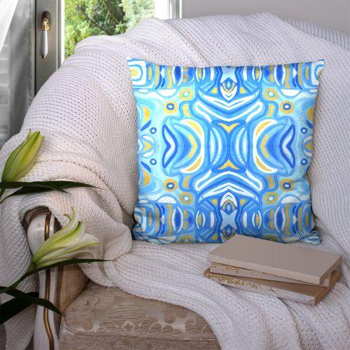 Coupon 45x45 cm motif miroir nuances de bleu - Création Lita Blanc