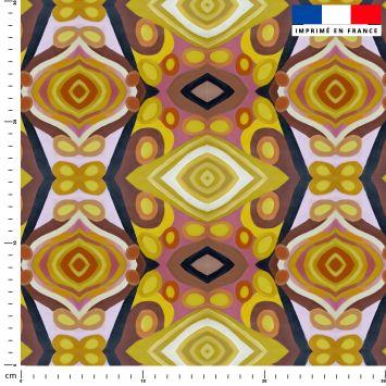 Abstrait miroir losange - Fond jaune - Création Lita Blanc