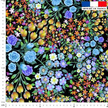 Bouquets de fleurs multicolores - Fond noir - Création Lita Blanc
