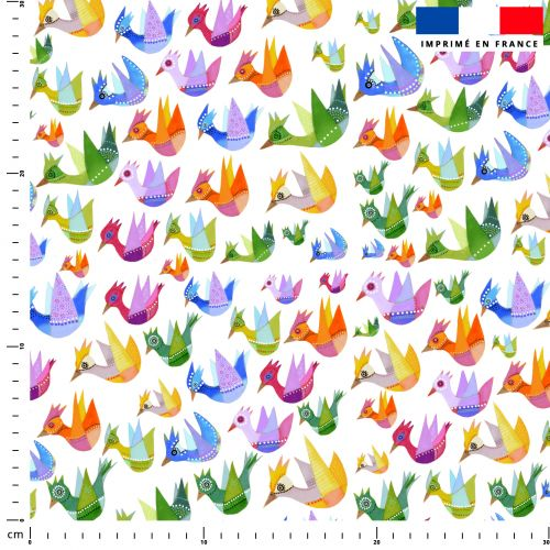 Oiseaux multicolores - Fond blanc - Création Lita Blanc