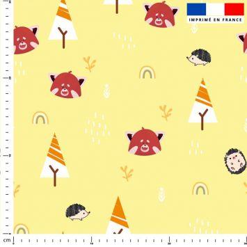 Panda roux et arc-en-ciel - Fond jaune
