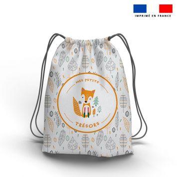 Kit sac à dos coulissant motif mes petits trésors renard