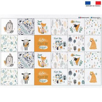 Coupon microfibre pour lingettes lavables motif animaux de la forêt Oeko-tex