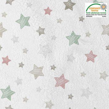 Polaire microfibre imprimée étoile Oeko-tex