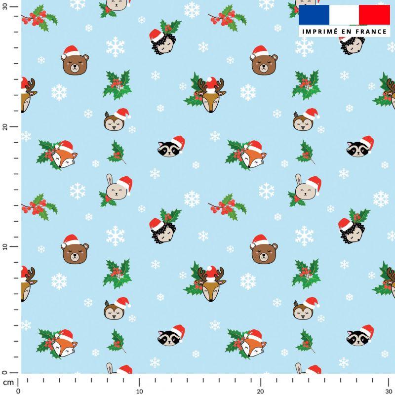 Animaux de Noel et flocons - Fond bleu