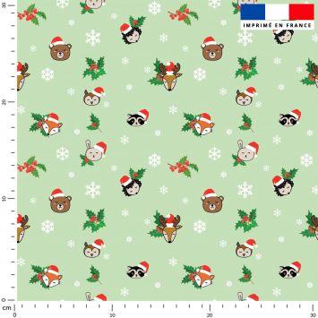 Animaux de Noel et flocons - Fond vert