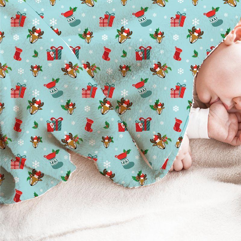 Renne et cadeaux de Noel - Fond turquoise