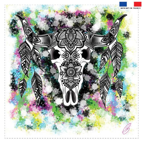Coupon 45x45 cm motif crâne indien - Création Créasan'