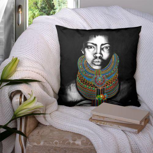 Coupon 45x45 cm motif portrait de femme noir et blanc - Création Créasan'