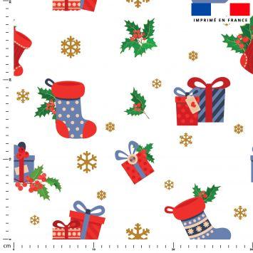 Bottes et cadeaux de Noel - Fond blanc