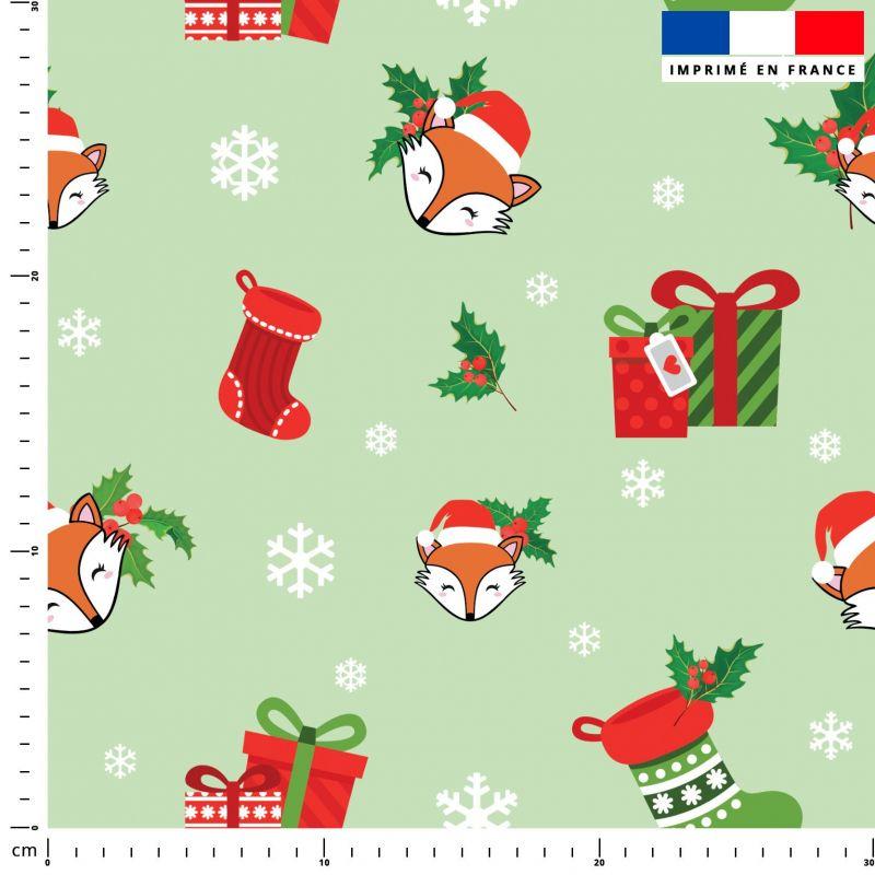 Renard et cadeaux de Noel - Fond vert