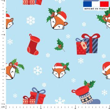 Renard et cadeaux de Noel - Fond bleu