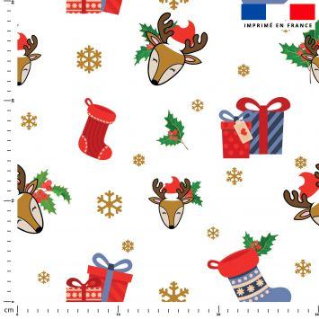 Renne et cadeaux de Noel - Fond blanc